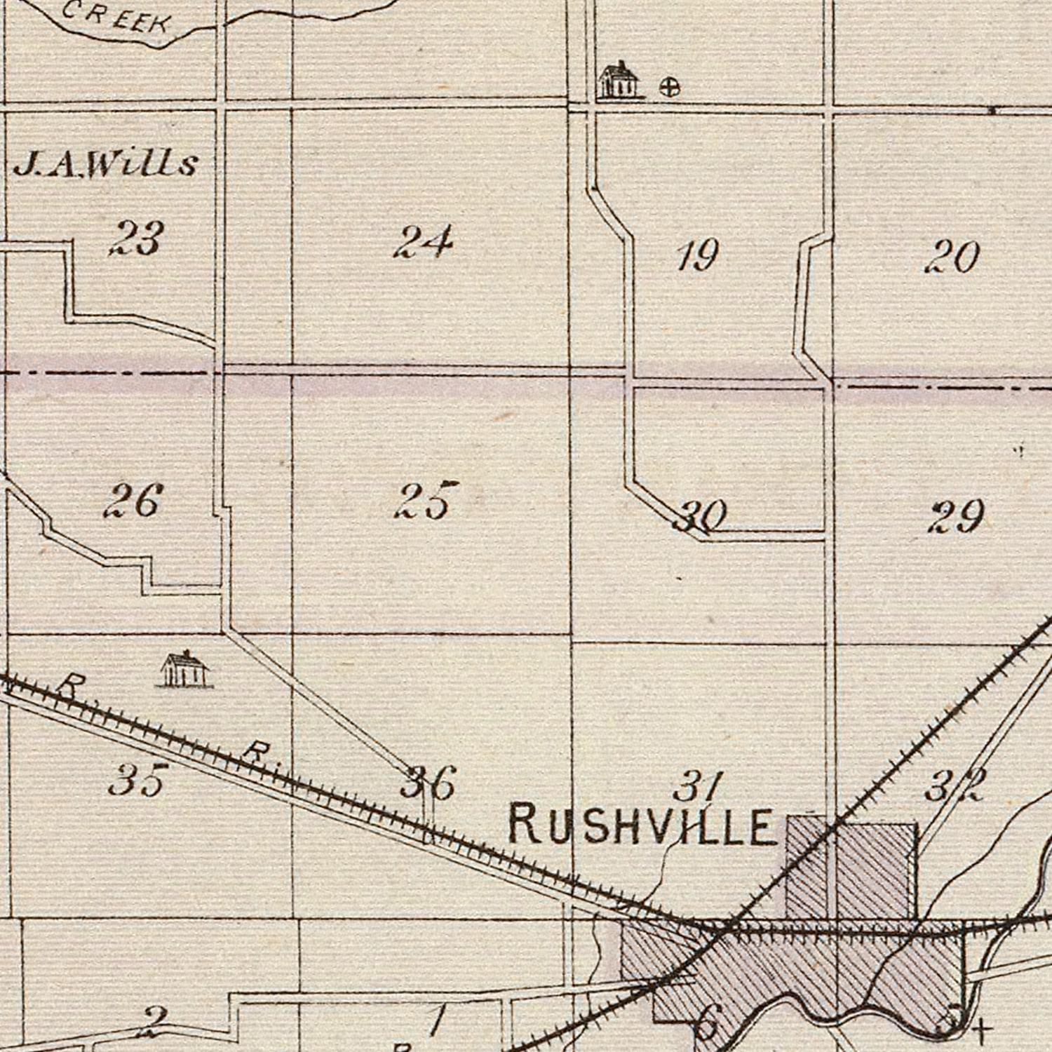 Vintage Map of Rush County Indiana, 1876