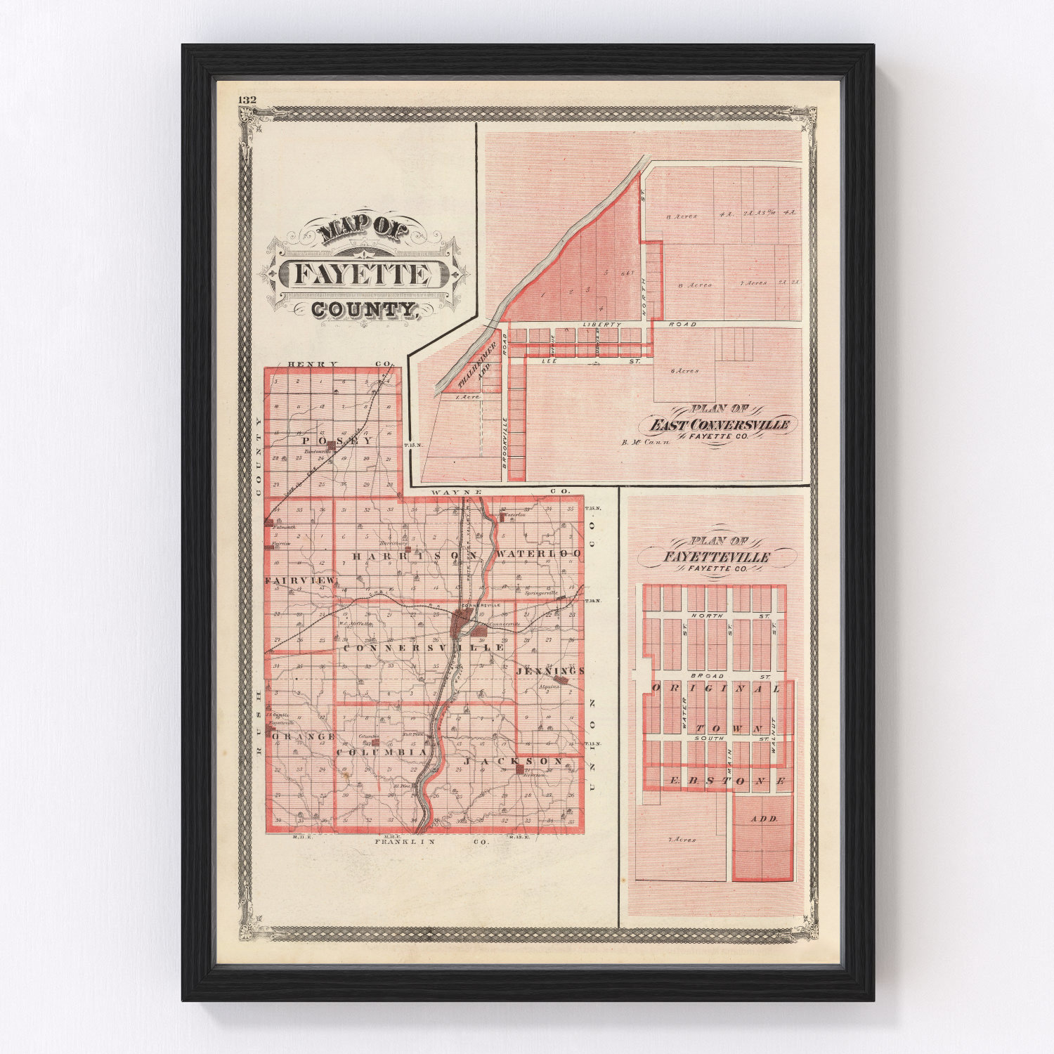 Vintage Map of Fayette County Indiana, 1876