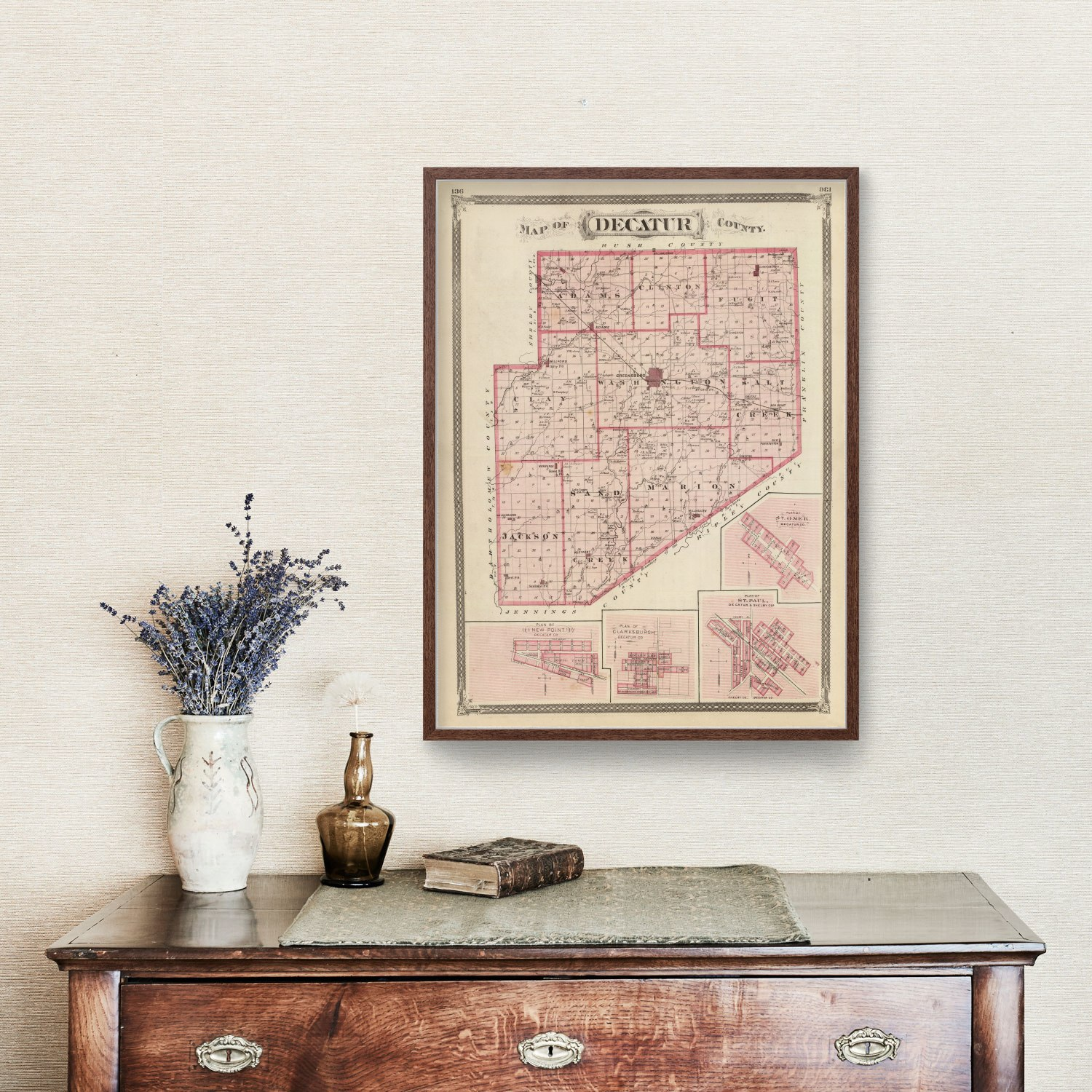 Vintage Map of Decatur County Indiana, 1876