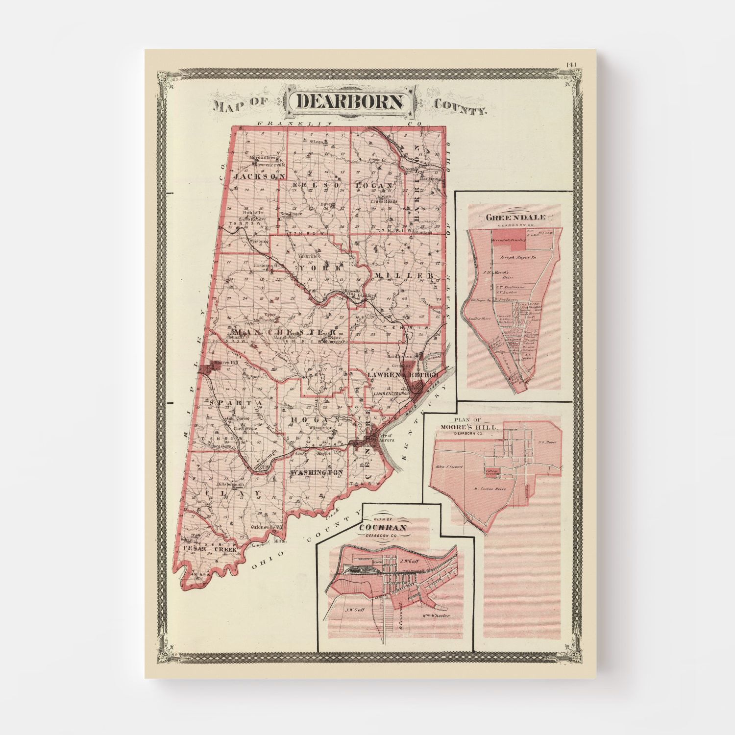 Vintage Map of Dearborn County Indiana, 1876