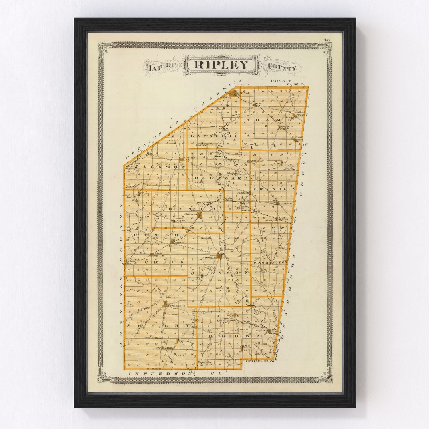 Vintage Map of Ripley County Indiana, 1876