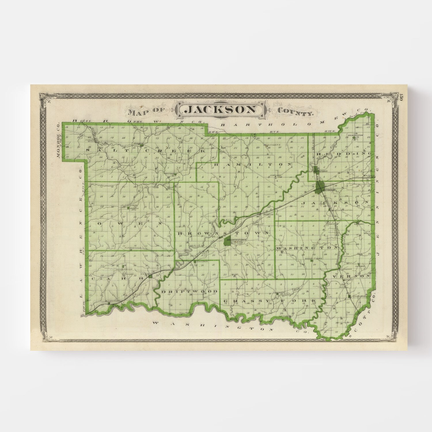 Vintage Map of Jackson County Indiana, 1876