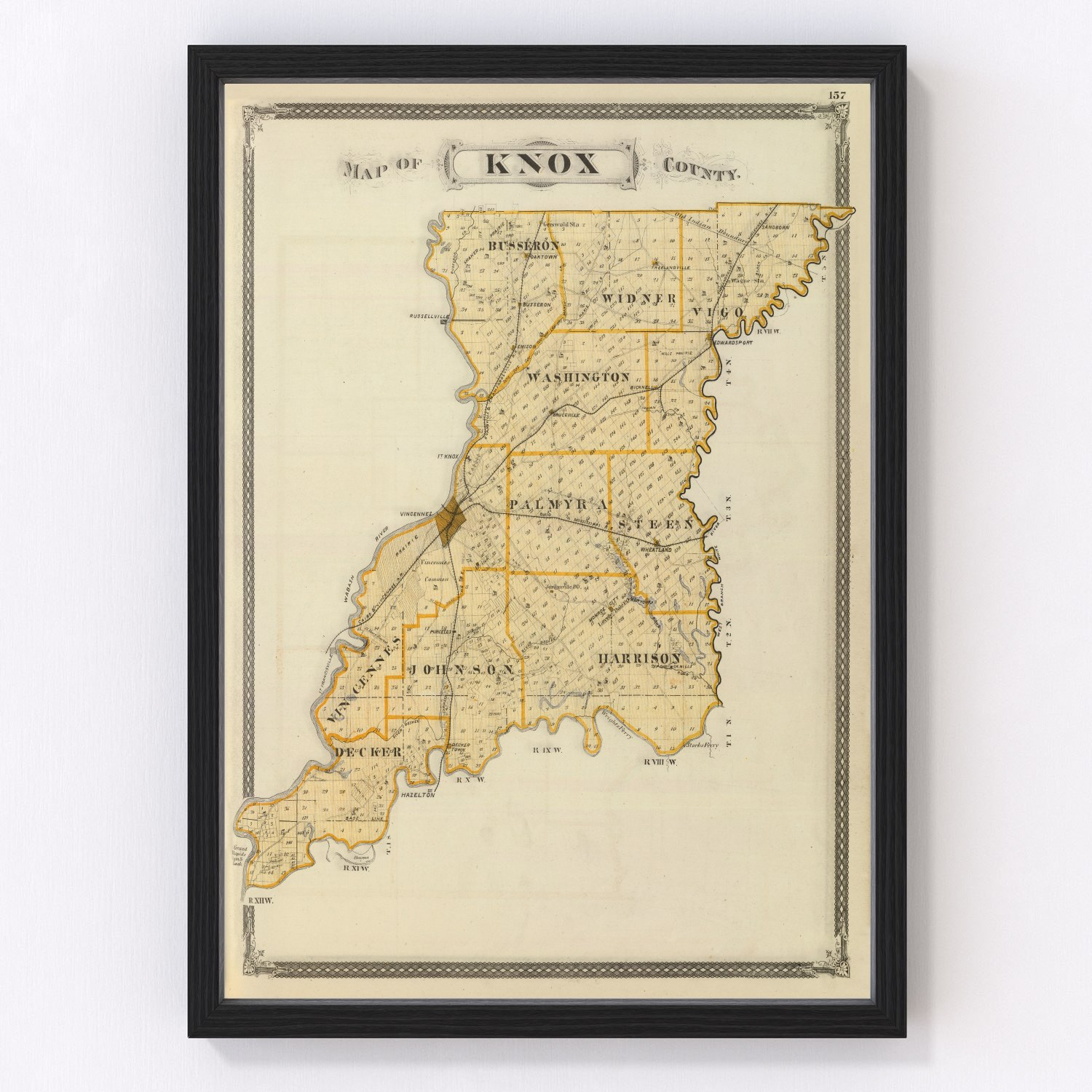 Vintage Map of Knox County Indiana, 1876