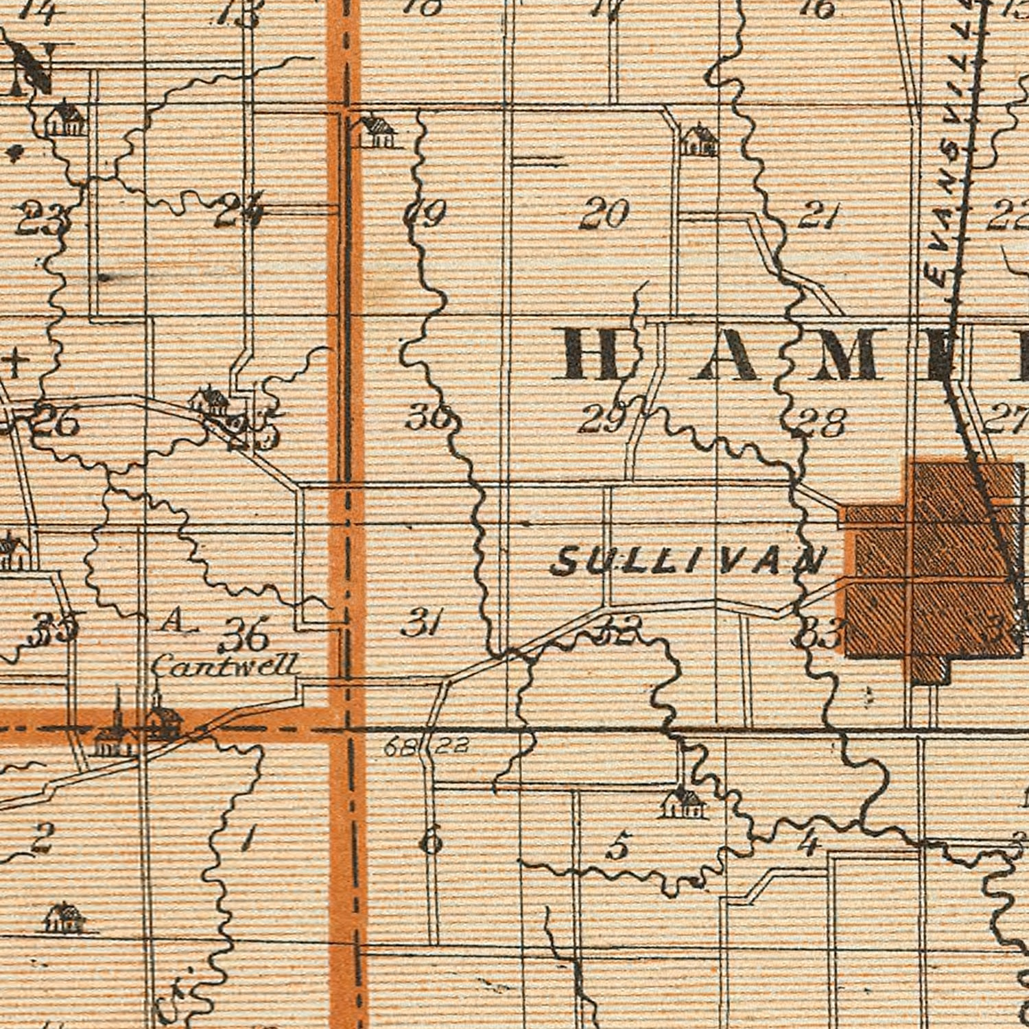 Vintage Map of Sullivan County Indiana, 1876