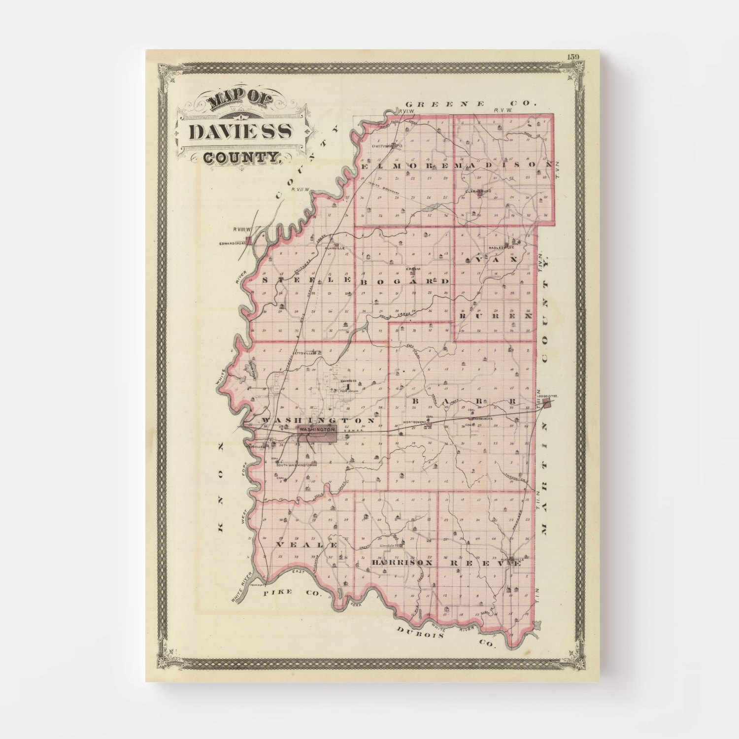 Vintage Map of Daviess County Indiana, 1876