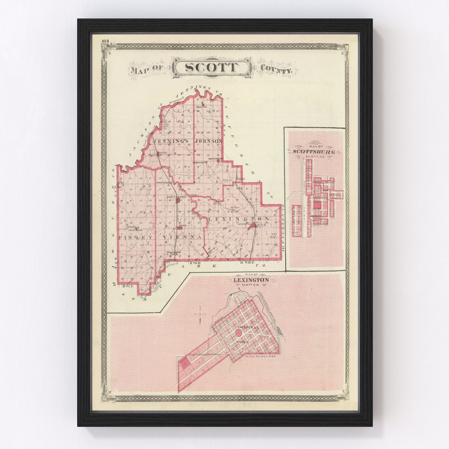 Vintage Map of Scott County Indiana, 1876