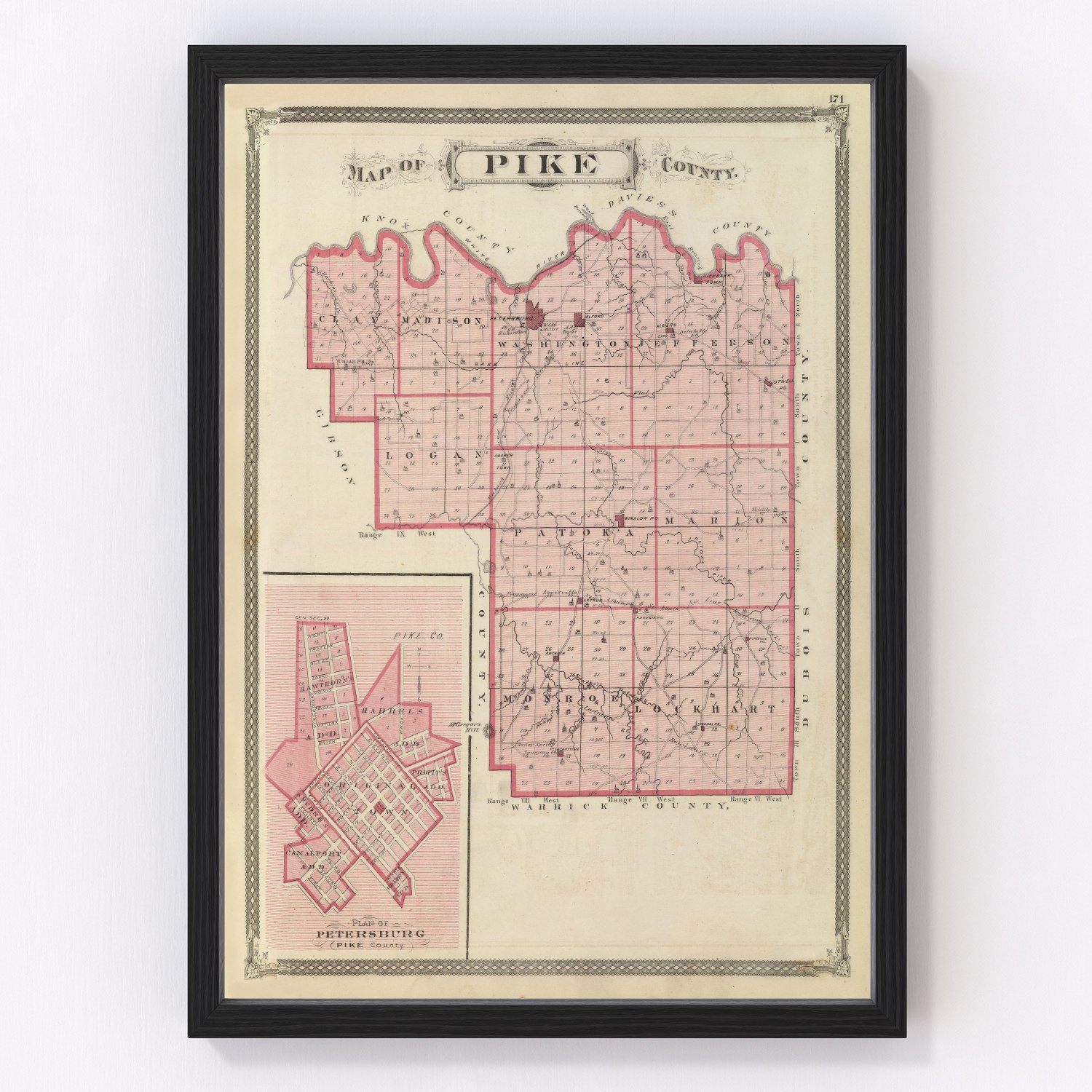 Vintage Map of Pike County Indiana, 1876