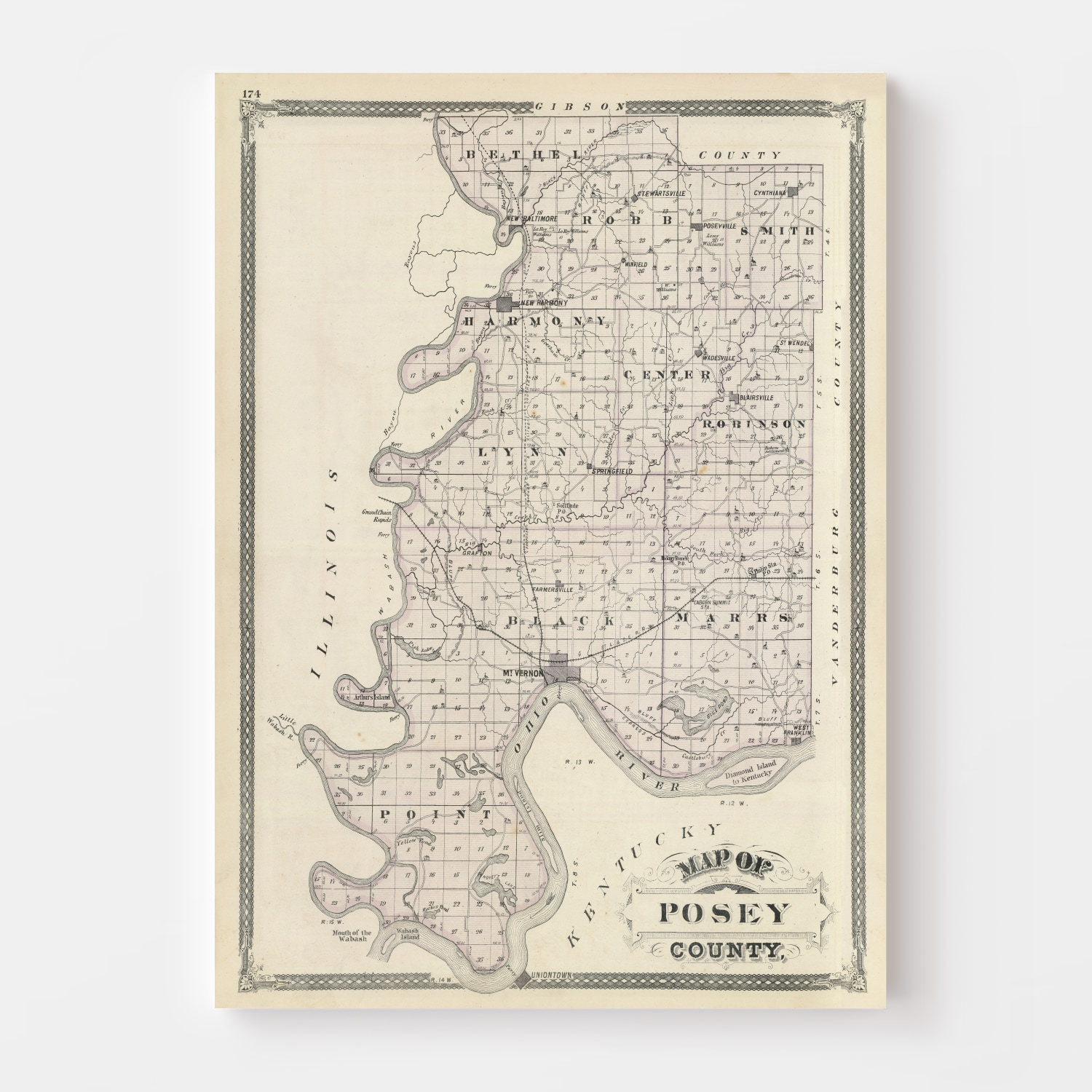 Vintage Map of Posey County Indiana, 1876