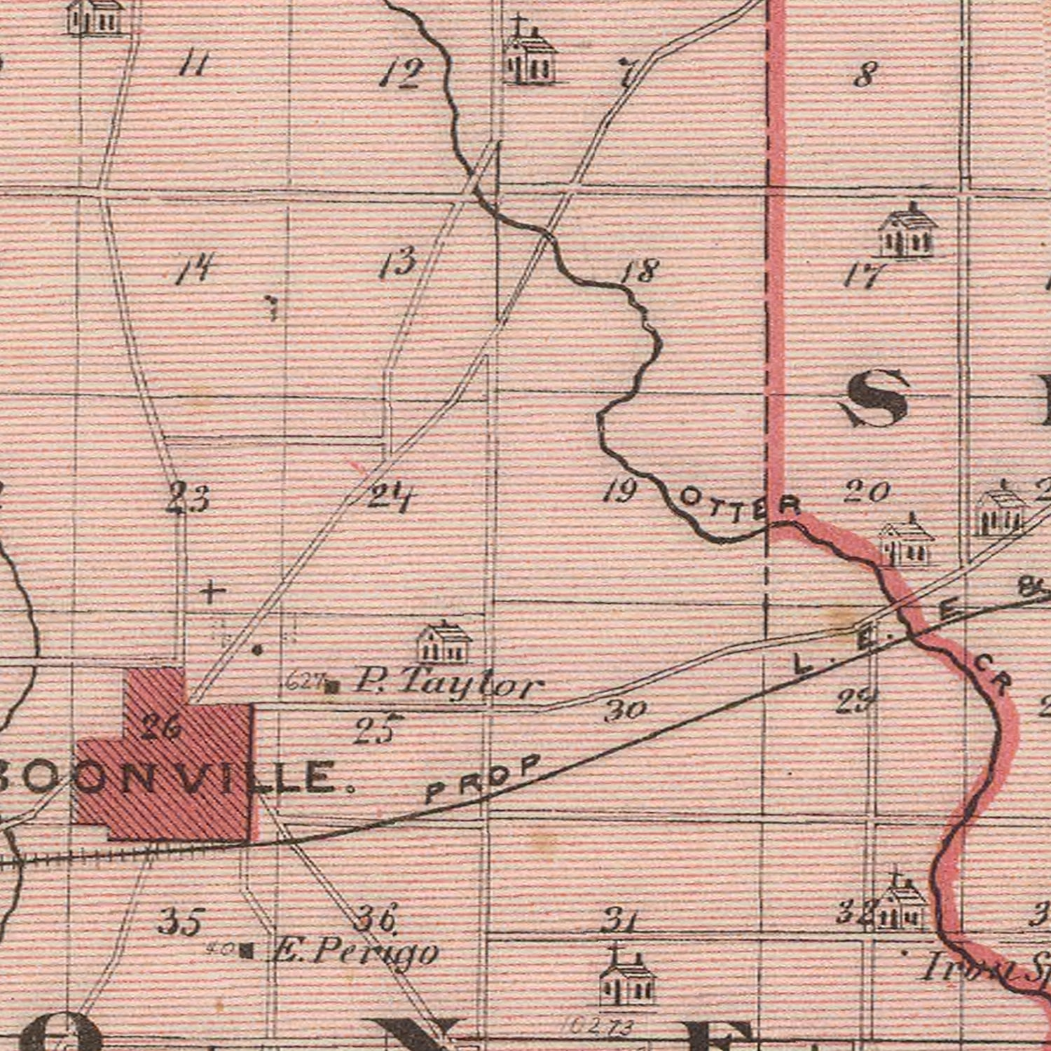 Vintage Map of Warrick County Indiana, 1876