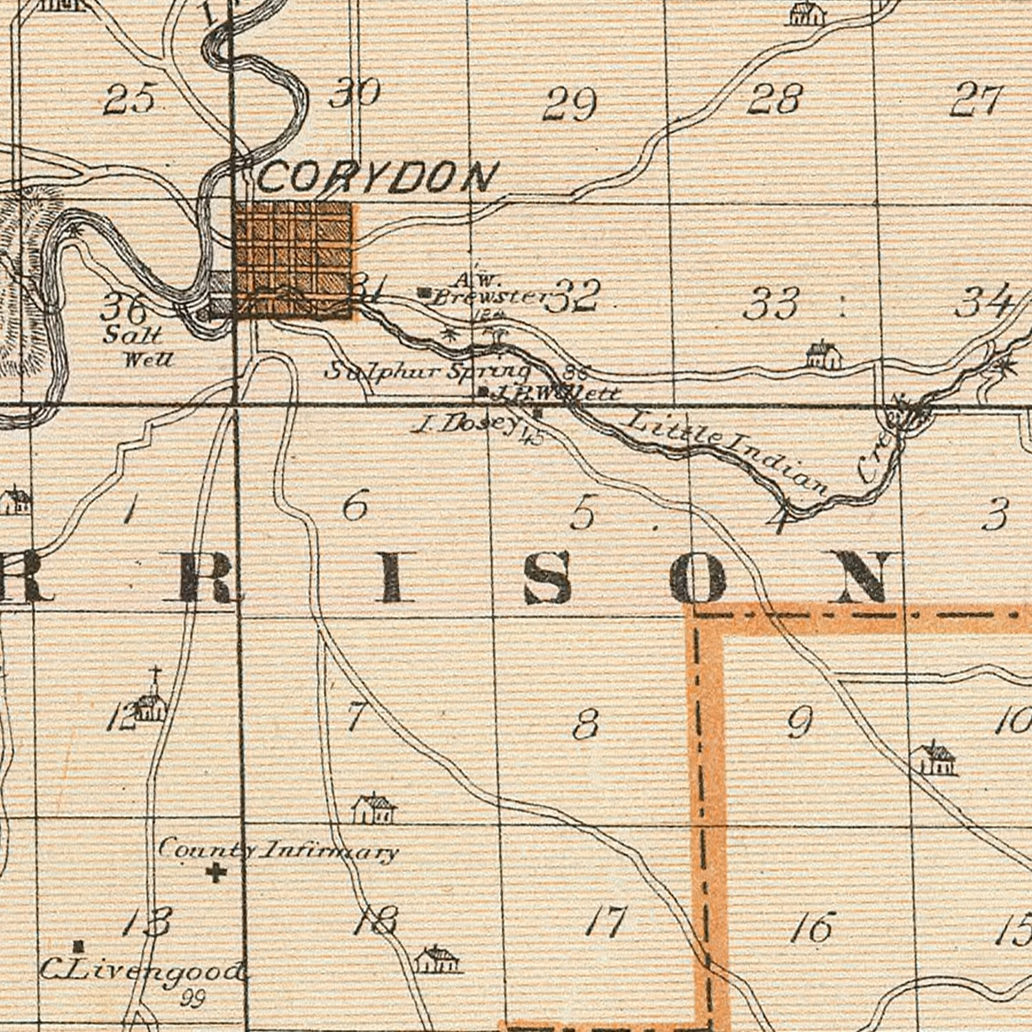 Vintage Map of Harrison County Indiana, 1876