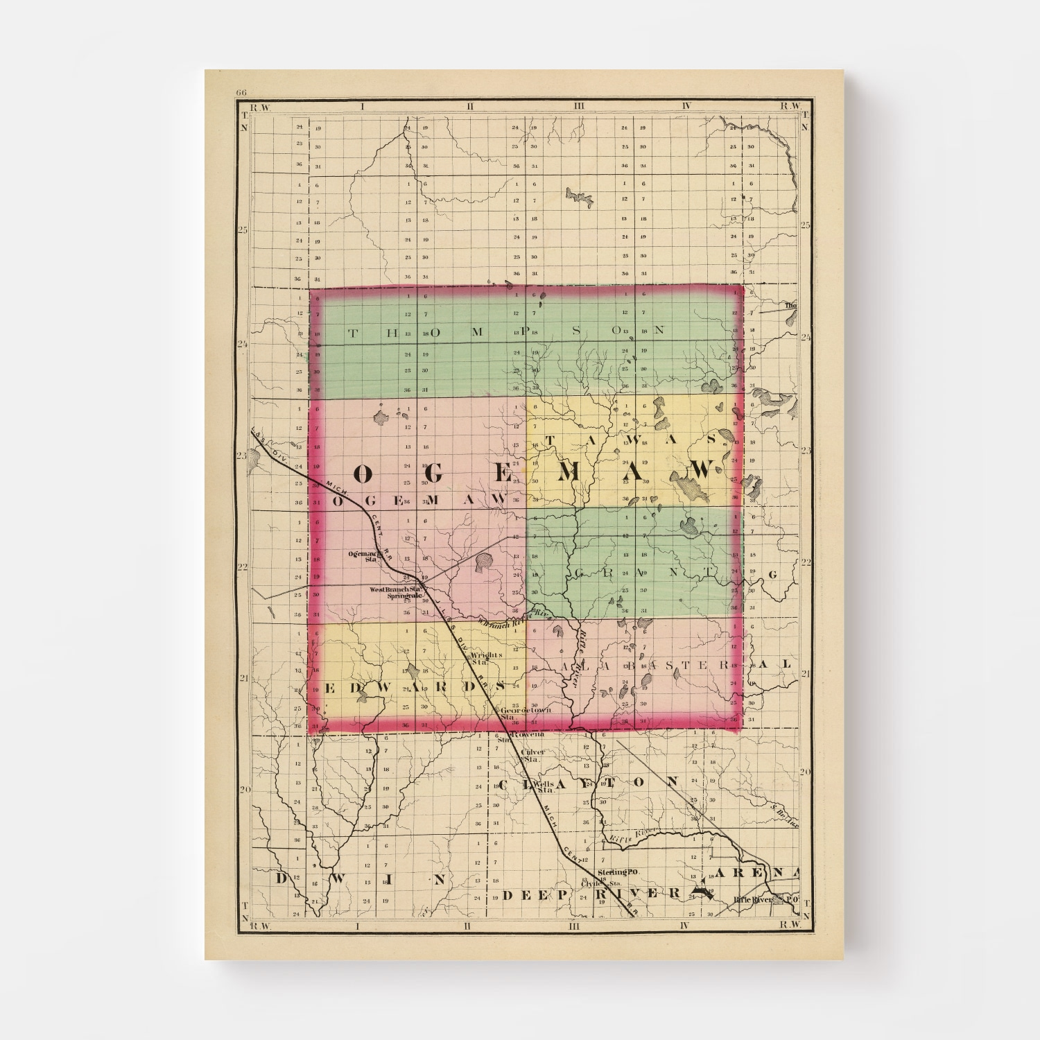 Vintage Map of Ogemaw County Michigan, 1873