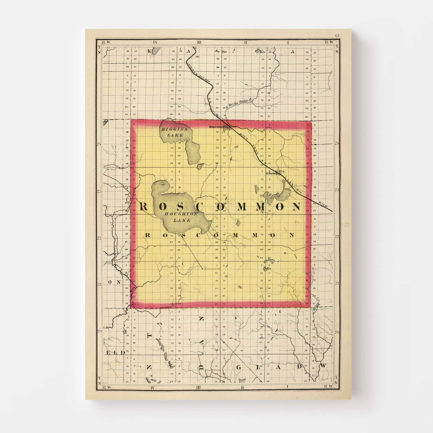 Vintage Map of Roscommon County Michigan, 1873