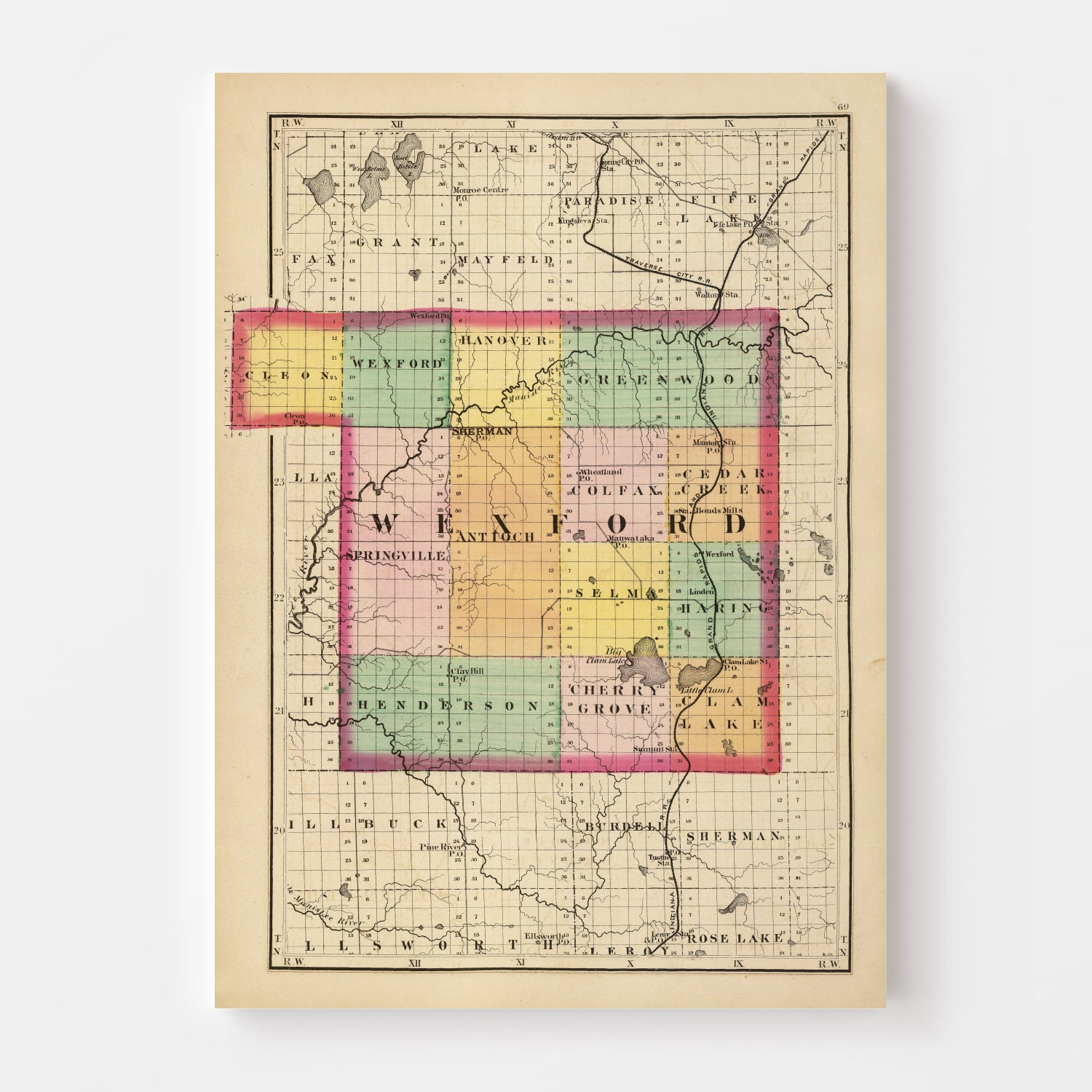 Vintage Map of Wexford County Michigan, 1873