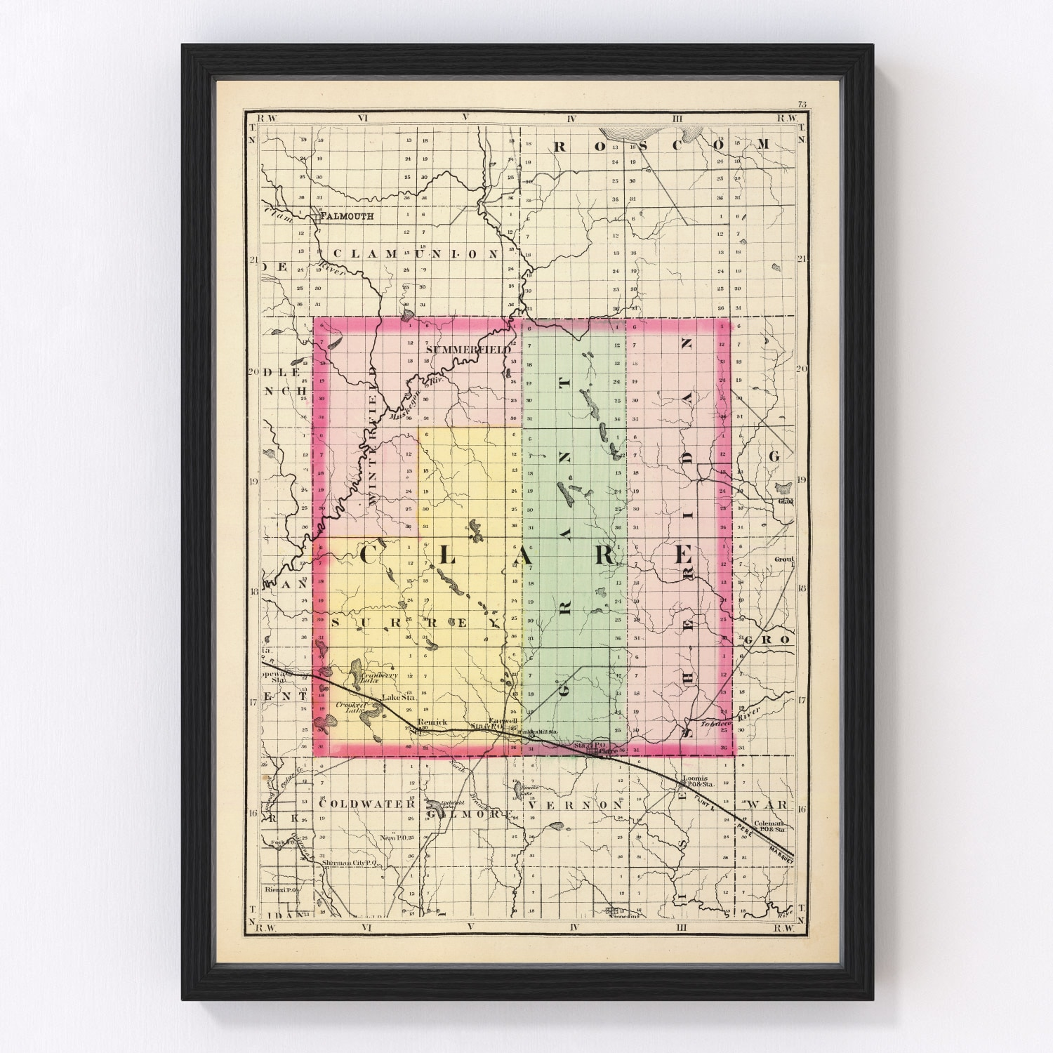 Vintage Map of Clare County Michigan, 1873