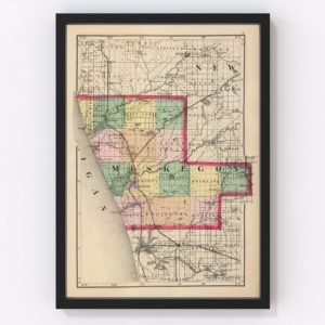 Vintage Map of Muskegon County Michigan, 1873
