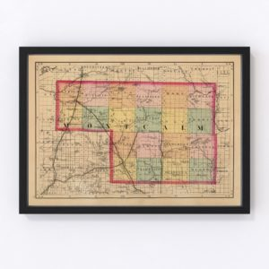 Vintage Map of Montcalm County Michigan, 1873