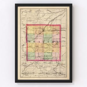 Vintage Map of Gratiot County Michigan, 1873