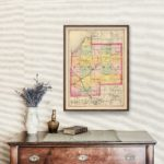 Vintage Map of Tuscola County Michigan, 1873