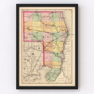 Vintage Map of St. Clair County Michigan, 1873