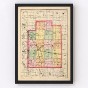 Vintage Map of Lapeer County Michigan, 1873