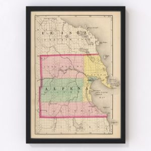 Vintage Map of Alpena County Michigan, 1873