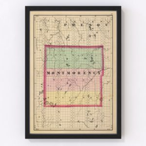 Vintage Map of Montmorency County Michigan, 1873