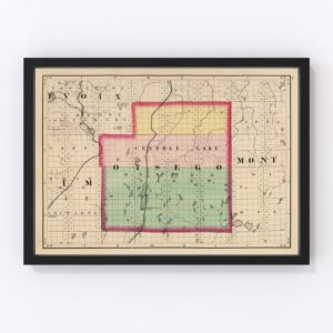 Vintage Map of Otsego County Michigan, 1873