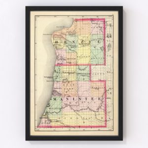 Vintage Map of Manistee County Michigan, 1873
