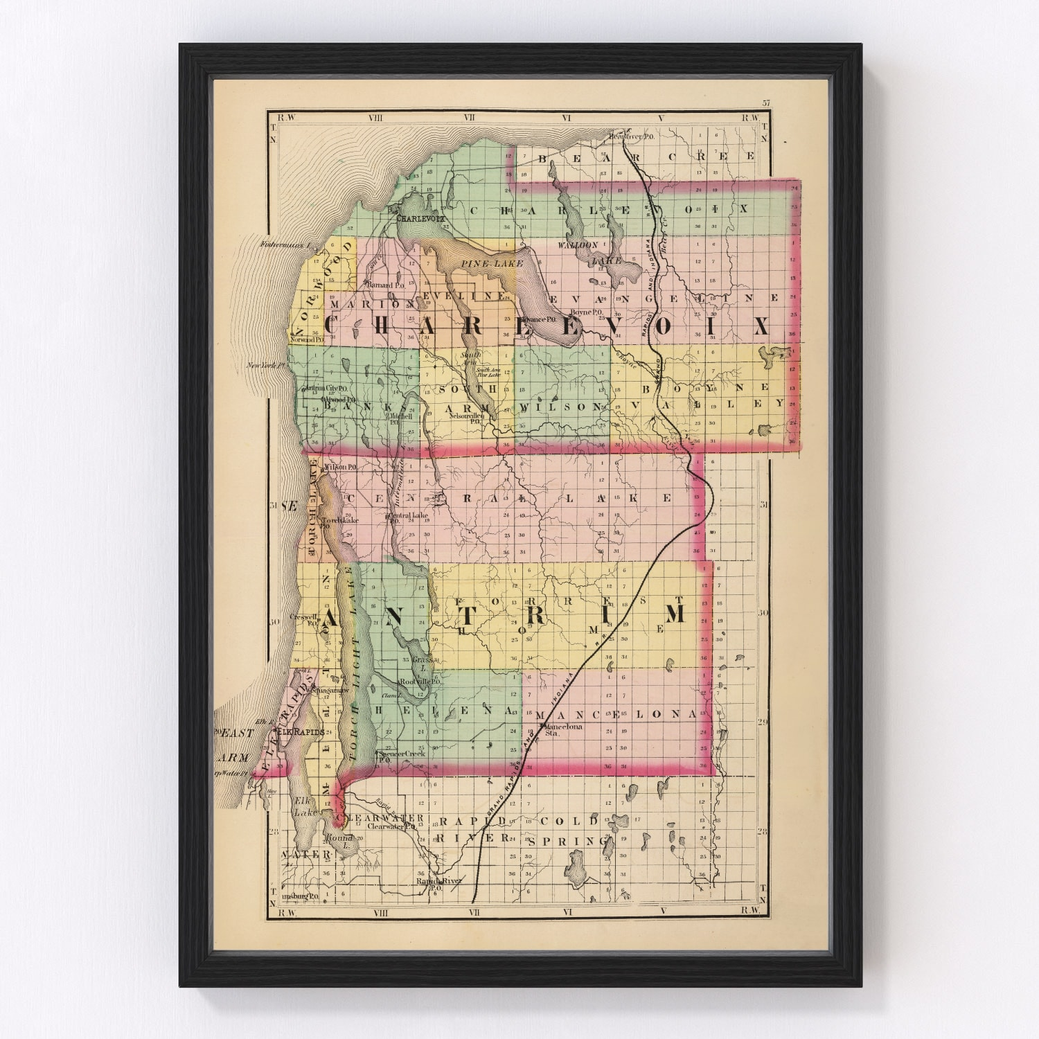 Vintage Map of Charlevoix County Michigan, 1873