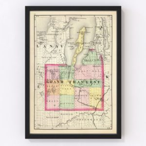 Vintage Map of Grand Traverse County Michigan, 1873