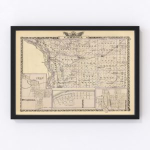 Vintage Map of Carroll County Illinois, 1876