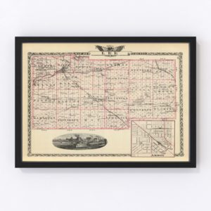 Vintage Map of Lee County Illinois, 1876