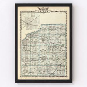 Vintage Map of Henry County Illinois, 1876