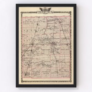 Vintage Map of Iroquois County Illinois, 1876