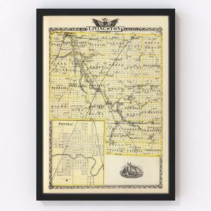 Vintage Map of Livingston County Illinois, 1876