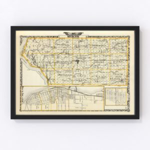 Vintage Map of Mercer County Illinois, 1876