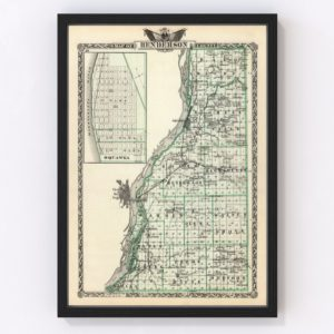 Vintage Map of Henderson County Illinois, 1876