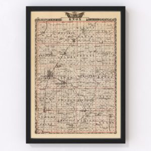Vintage Map of Knox County Illinois, 1876