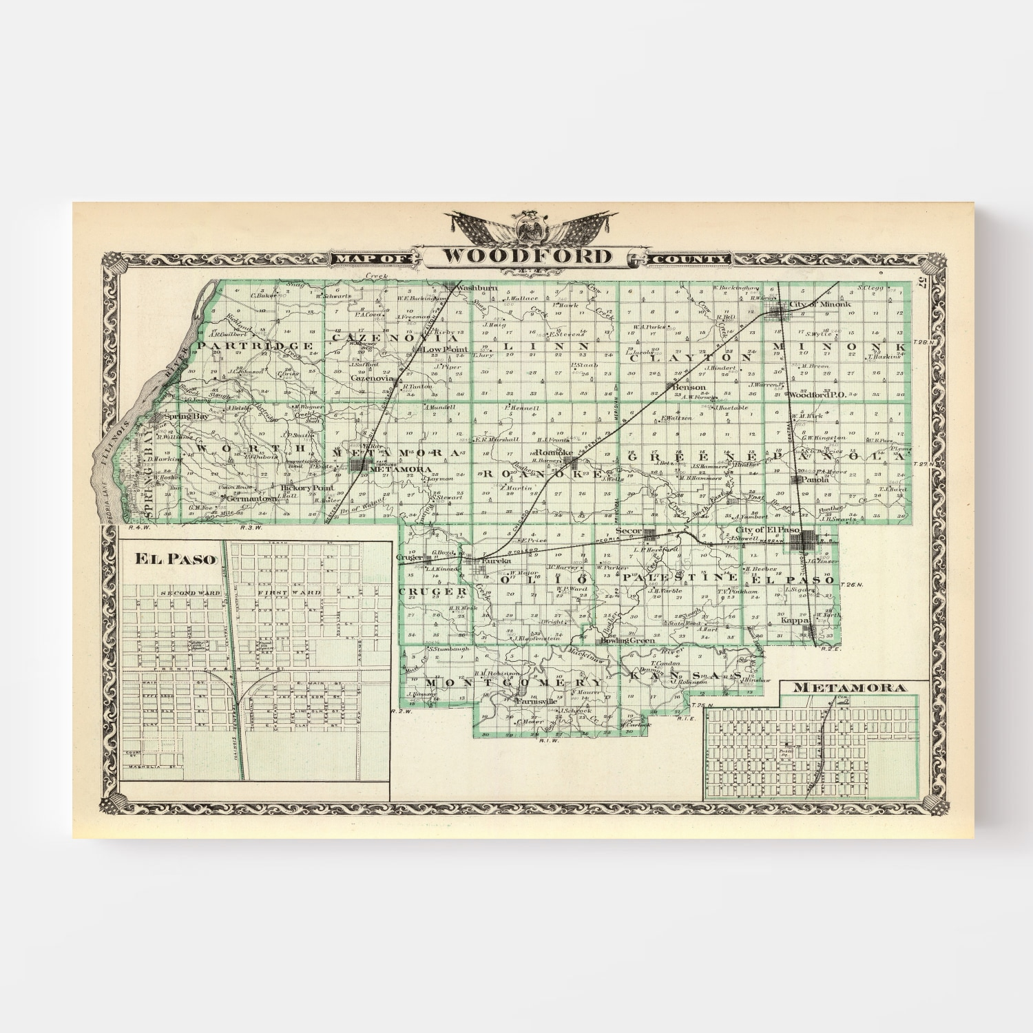 Vintage Map of Woodford County Illinois, 1876