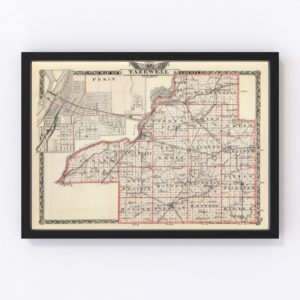 Vintage Map of Tazewell County Illinois, 1876