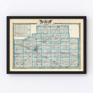 Vintage Map of McLean County Illinois, 1876