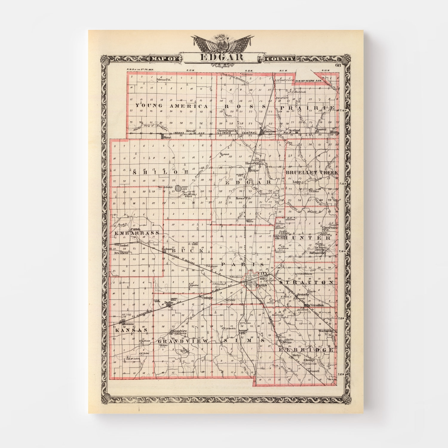 Vintage Map of Edgar County Illinois, 1876