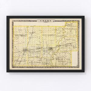 Vintage Map of Coles County Illinois, 1876