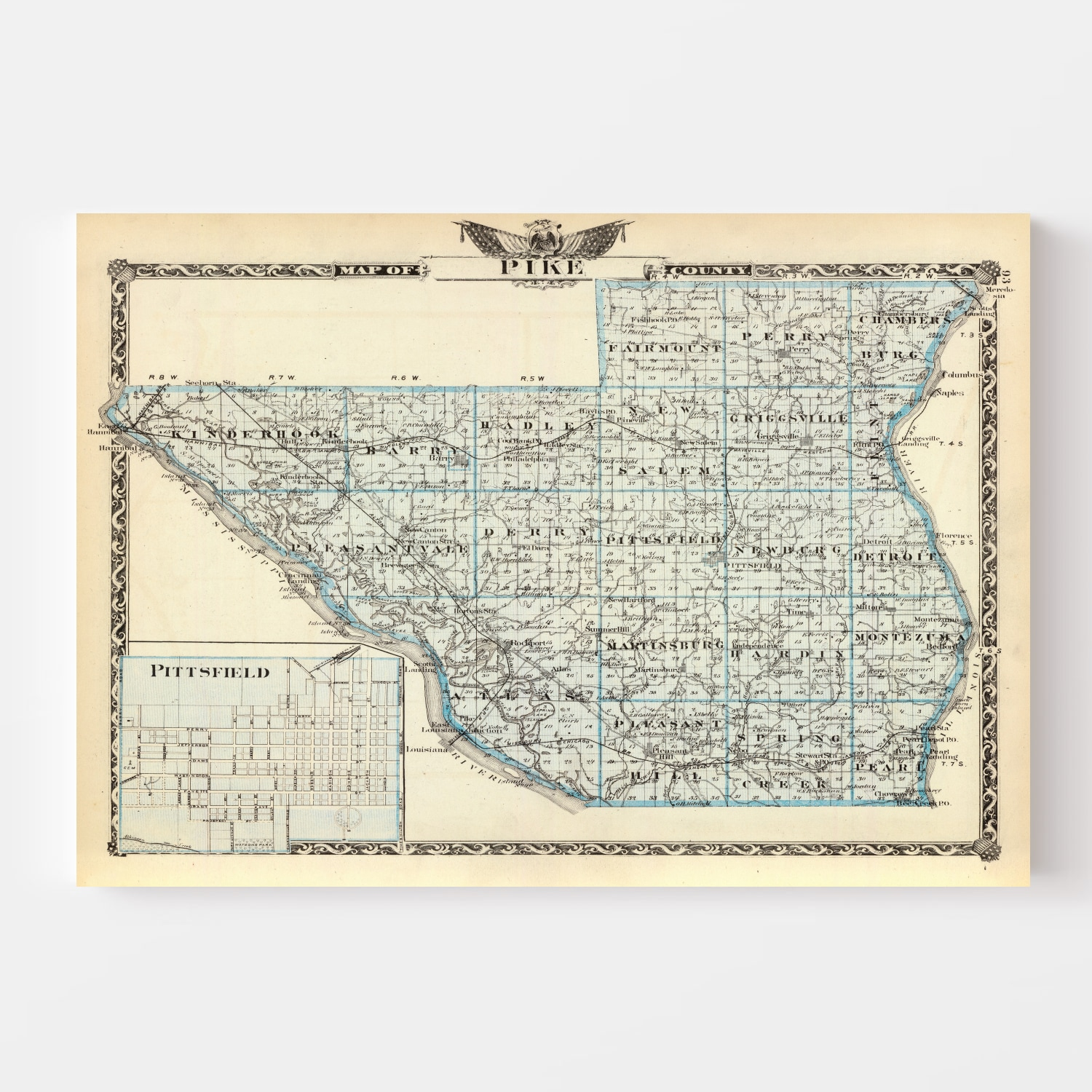 Vintage Map of Pike County Illinois, 1876