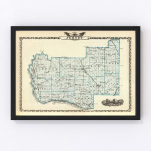 Vintage Map of Jersey County Illinois, 1876