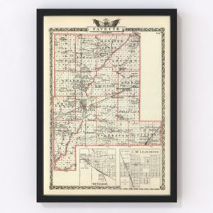 Vintage Map of Fayette County Illinois, 1876