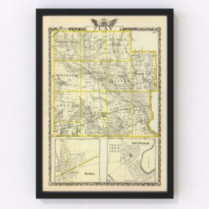 Vintage Map of Clay County Illinois, 1876