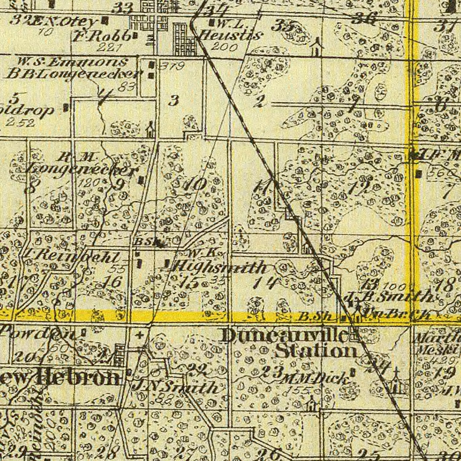 Vintage Map of Crawford County Illinois, 1876
