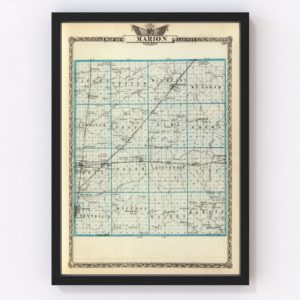 Vintage Map of Marion County Illinois, 1876