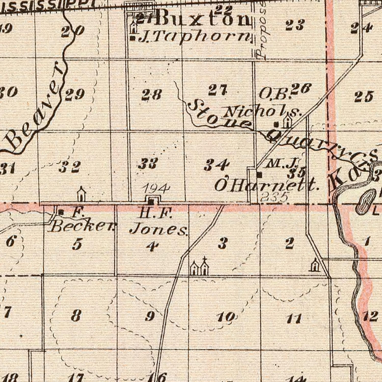 Vintage Map of Clinton County Illinois, 1876